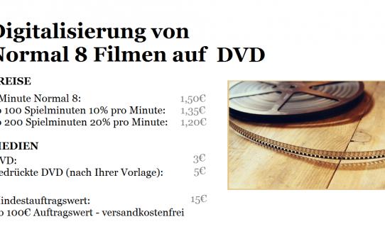 Digitalisierung von Normal 8 Filmen auf DVD