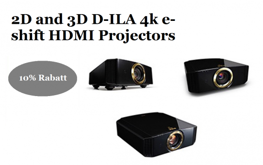 2D and 3D D-ILA Projectors with 4k e-shift HDMI 18Gbps, 4K60p 4:4:4