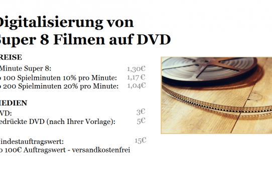 Digitalisierung von Super 8 Filmen auf DVD